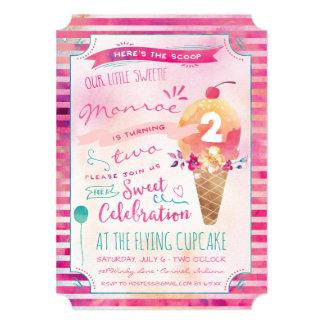 Ice Cream Social Birthday Party Invitations