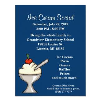 "Ice Cream Social Flyer 4.25"" X 5.5"" Invitation Card"