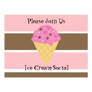 Ice Cream Social Invitation Postcard