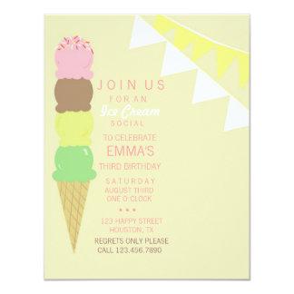"Ice Cream Social Party Invitation 4.25"" X 5.5"" Invitation Card"