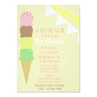 "Ice Cream Social Party Invitation 5"" X 7"" Invitation Card"