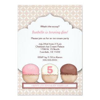"Ice Cream Social Party Invite with age 5"" X 7"" Invitation Card"