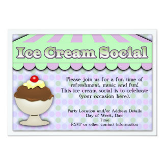 Ice Cream Social, Purple/Green Stripe Sundae 13 Cm X 18 Cm Invitation Card