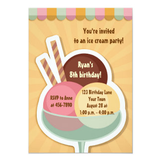 Ice Cream Sundae Custom Invitation