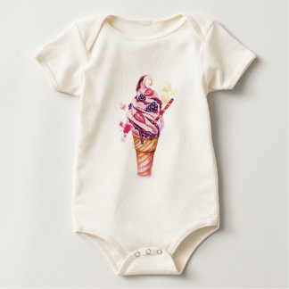 Ice cream with strawberry and blackberry baby bodysuit