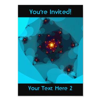 Ice Fire. Fractal Art. Blue. 13 Cm X 18 Cm Invitation Card