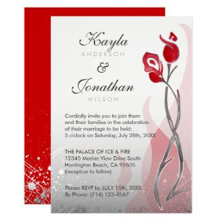 Ice & Fire Wedding Invitations | Red Silver Roses