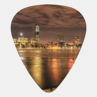 Ice partially melted on Charles River in Boston Guitar Pick