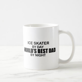 Ice Skater World's Best Dad by Night Basic White Mug
