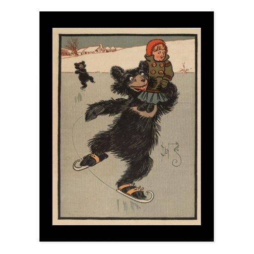 Ice Skating Bear Post Cards