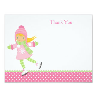 Ice Skating Birthday Thank You Notes Card
