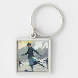 Ice Skating - PLM Olympic Promo Poster Silver-Colored Square Key Ring