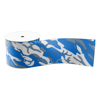 Ice Water Blue Camo Grosgrain Ribbon