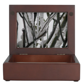 Iced Rose Branches Keepsake Box