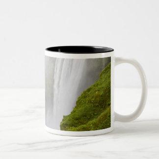Iceland. Skogarfoss Waterfall plunges over a Two-Tone Coffee Mug