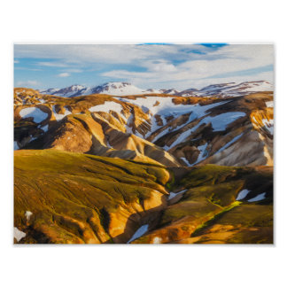 Iceland Snowy mountains Poster