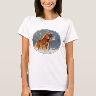 Icelandic Horses Foal Playing in Snow, Cotton T T-Shirt