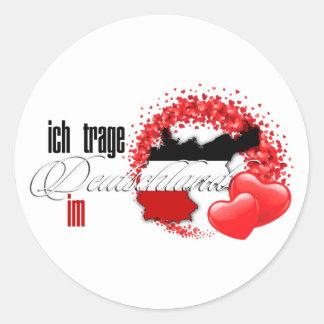 Ich trage Deutschland im Herzen Classic Round Sticker