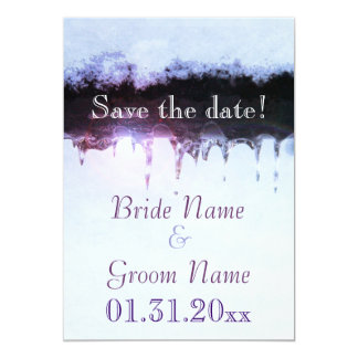 Icicles and snow winter save the date card