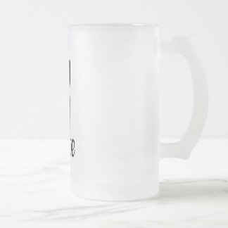 """Icon hand peace sign with text """"PEACE"""" Frosted Glass Beer Mug"""