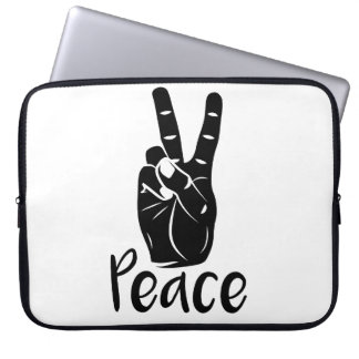 "Icon hand peace sign with text ""PEACE"" Laptop Sleeve"