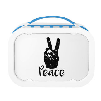 "Icon hand peace sign with text ""PEACE"" Lunchbox"