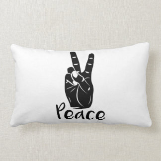 "Icon hand peace sign with text ""PEACE"" Throw Cushions"