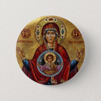 Iconic 15th Century Mary with Christ Child 6 Cm Round Badge