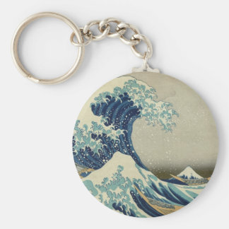 Iconic Great Wave off Kanagawa Mount Fuji Japan Basic Round Button Key Ring