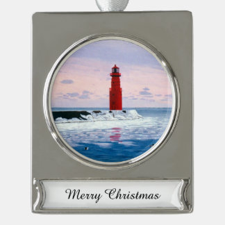 Icy Waters Lighthouse Silver Plated Banner Ornament