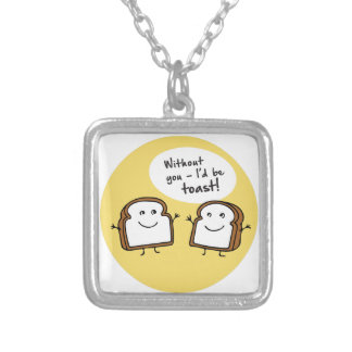 Id Be Toast Square Pendant Necklace