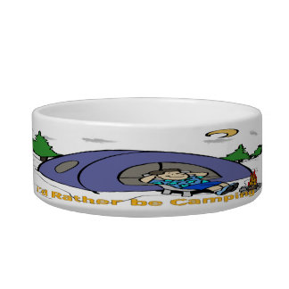 I'd Rather Be Camping - Camp Scene Cat Pet Bowl