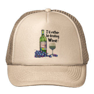 I'd rather be drinking Wine! Humorous Wine Gifts Mesh Hat