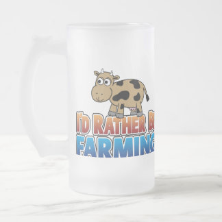 I'd Rather Be Farming - Brown Dairy Cow Frosted Glass Beer Mug