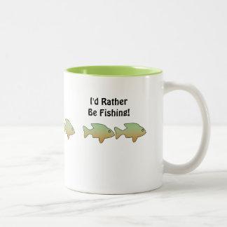 "I'd Rather Be Fishing"", fish mug"