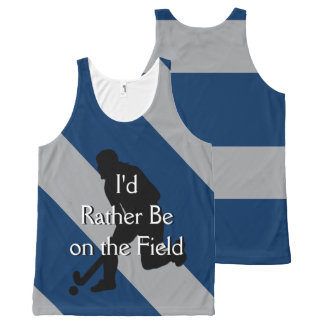 I'd Rather Be on the Field (Hockey) F Navy & Gray All-Over Print Singlet