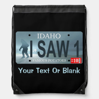 "Idaho ""I Saw 1"" Sasquatch License Plate Drawstring Bag"