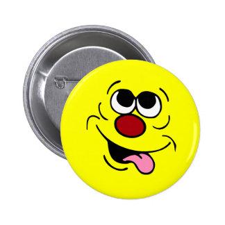 Idiotic Smiley Face Grumpey 6 Cm Round Badge