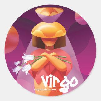 idolz virgo circle classic round sticker