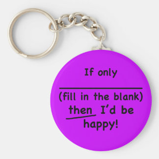 If only (fill in the blank) then I'd be happy. Basic Round Button Key Ring