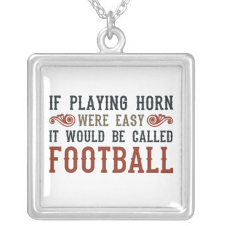 If Playing Horn Were Easy Square Pendant Necklace