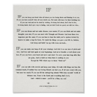 IF Quote by Rudyard Kipling 1895 on White Linen Poster