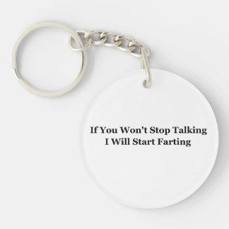 If You Won't Stop Talking I Will Start Farting Key Ring