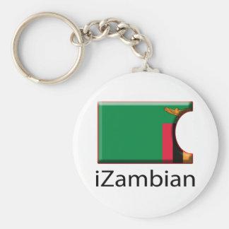 iFlag Zambia Basic Round Button Key Ring