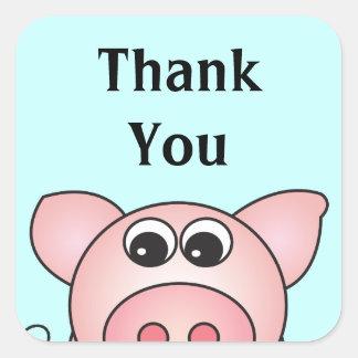 Iggy the Piggy Personalized Square Stickers