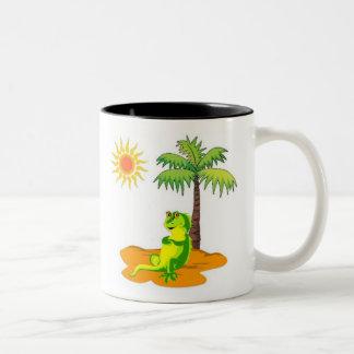 Iguana In The Desert Two-Tone Coffee Mug