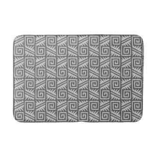Ikat Aztec Tribal - Charcoal and Silver Grey Bath Mat