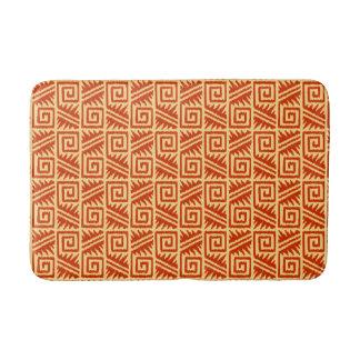 Ikat Aztec Tribal - Mandarin and Light Orange Bath Mat