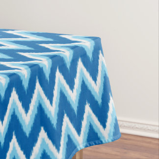 Ikat Chevron Stripes - Cobalt, Sky Blue and White Tablecloth
