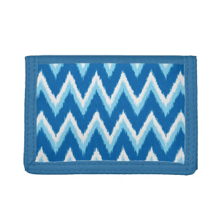 Ikat Chevron Stripes - Cobalt, Sky Blue and White Trifold Wallets